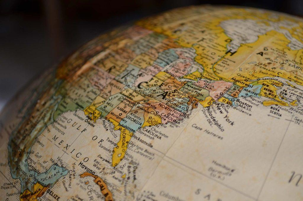 close up of a globe showing the United States of America